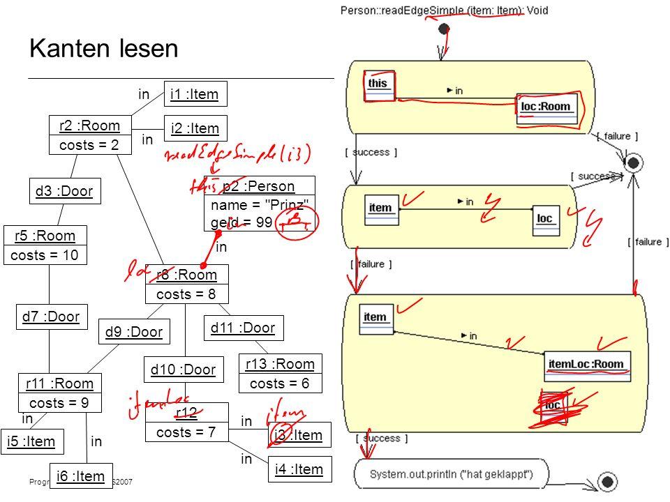 Programmiermethodik SS2007 © 2007 Albert Zündorf, University of Kassel 3 Kanten lesen r2 :Room costs = 2 r5 :Room costs = 10 r11 :Room costs = 9 r8 :R