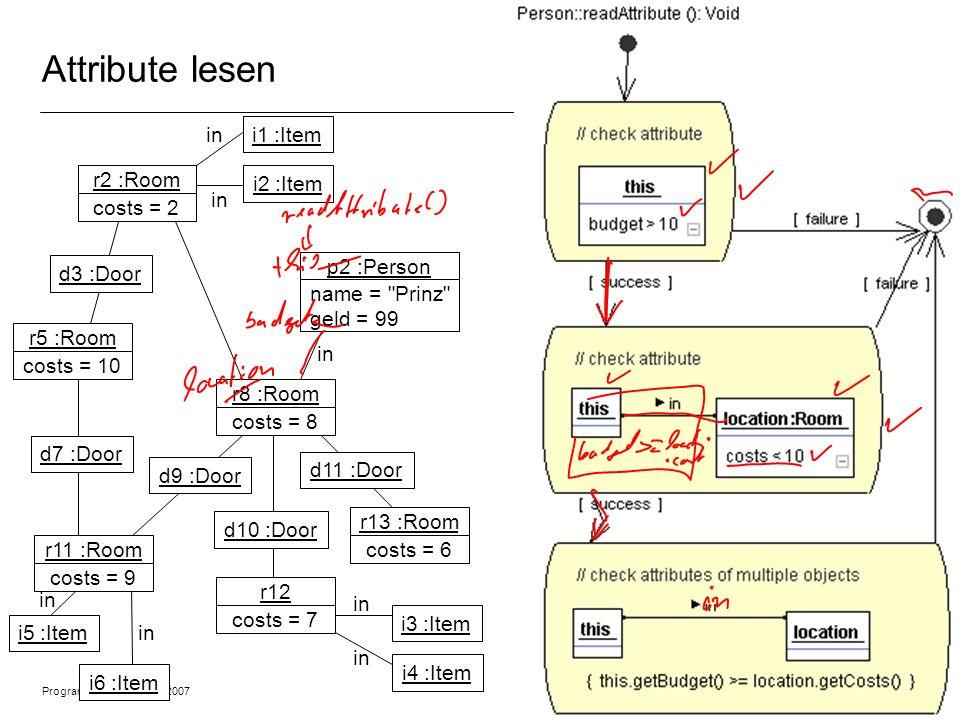 Programmiermethodik SS2007 © 2007 Albert Zündorf, University of Kassel 4 Attribute lesen r2 :Room costs = 2 r5 :Room costs = 10 r11 :Room costs = 9 r8