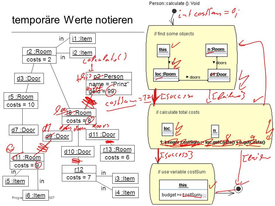 Programmiermethodik SS2007 © 2007 Albert Zündorf, University of Kassel 5 temporäre Werte notieren r2 :Room costs = 2 r5 :Room costs = 10 r11 :Room cos