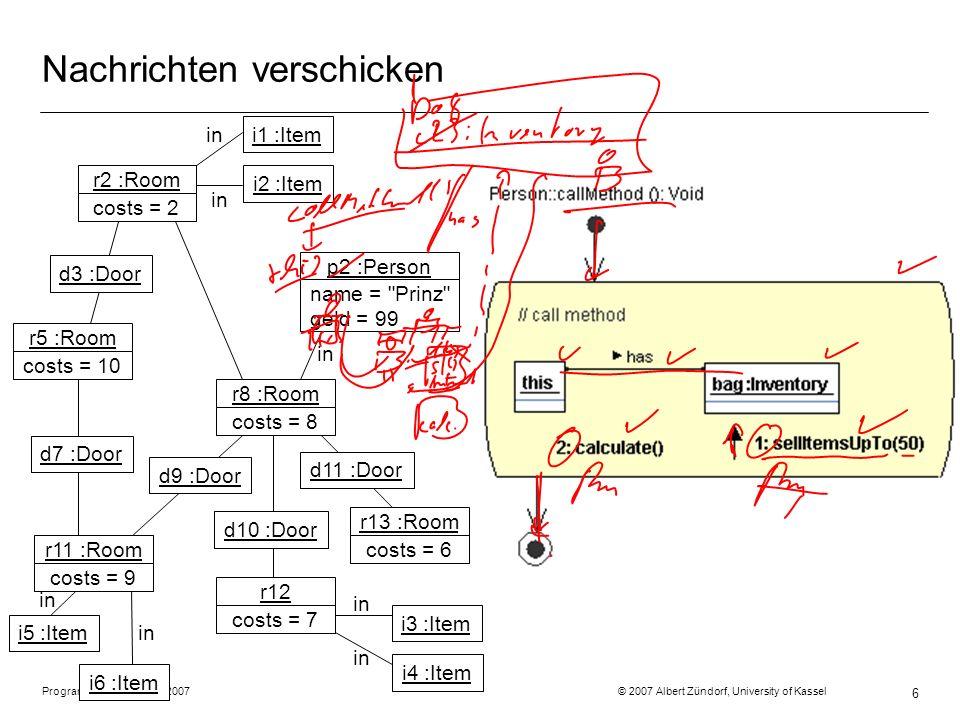 Programmiermethodik SS2007 © 2007 Albert Zündorf, University of Kassel 6 Nachrichten verschicken r2 :Room costs = 2 r5 :Room costs = 10 r11 :Room cost