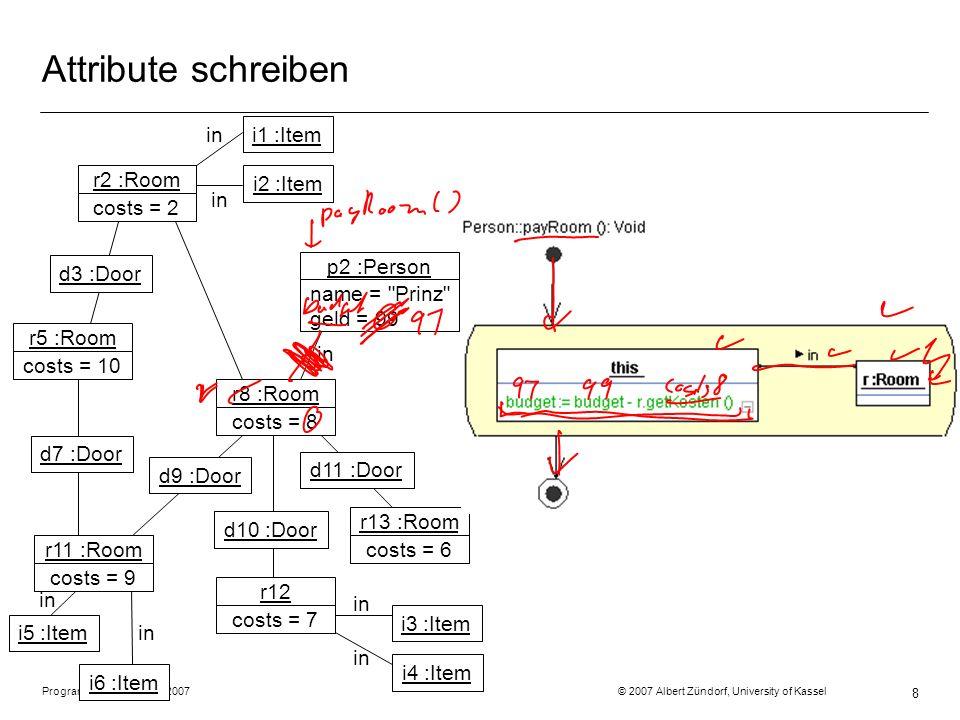 Programmiermethodik SS2007 © 2007 Albert Zündorf, University of Kassel 8 Attribute schreiben r2 :Room costs = 2 r5 :Room costs = 10 r11 :Room costs =