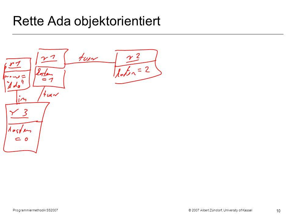 Programmiermethodik SS2007 © 2007 Albert Zündorf, University of Kassel 10 Rette Ada objektorientiert