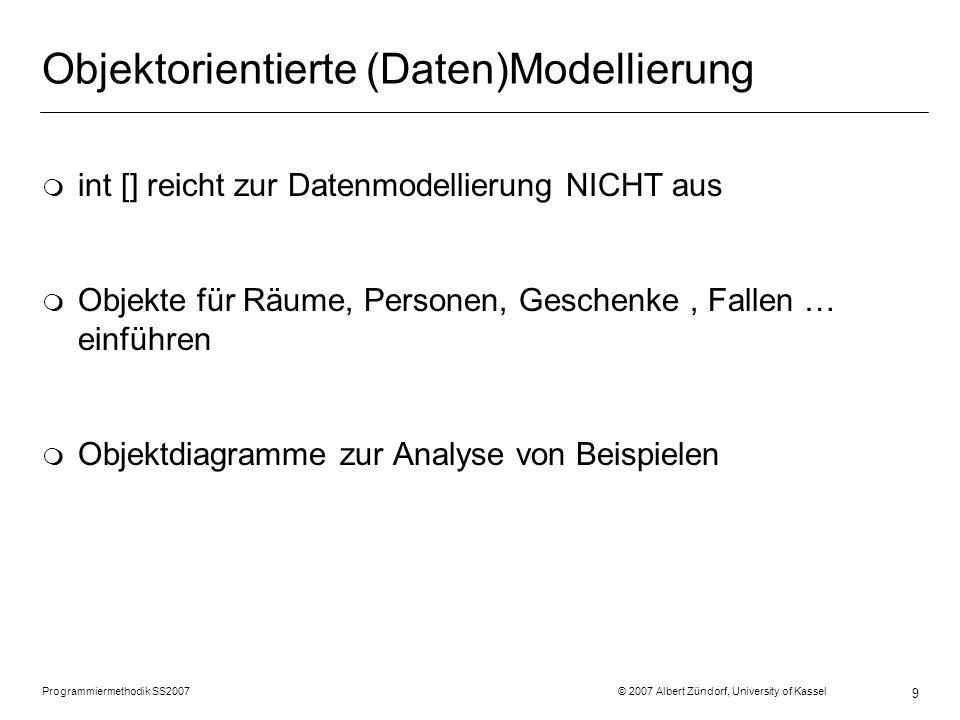 Programmiermethodik SS2007 © 2007 Albert Zündorf, University of Kassel 9 Objektorientierte (Daten)Modellierung m int [] reicht zur Datenmodellierung NICHT aus m Objekte für Räume, Personen, Geschenke, Fallen … einführen m Objektdiagramme zur Analyse von Beispielen