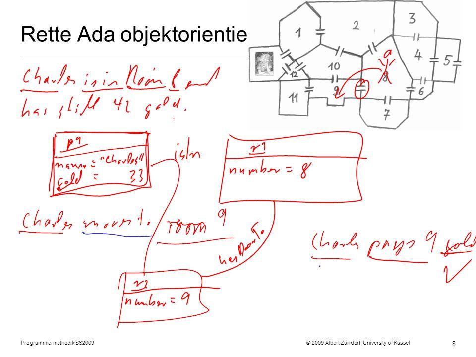 Programmiermethodik SS2009 © 2009 Albert Zündorf, University of Kassel 9 Rette Ada objektorientiert r1 costs = 1 r2 costs = 2 r3 costs = 3 r4 costs = 0 r7 costs = 12 r5 costs = 10 r10 costs = 11 r11 costs = 9 r8 costs = 8 r12 costs = 7 r13 costs = 6 r6 costs = 4 hof door p1 name = Ada p2 name = Prinz budget = 99 door in r9 costs = 5 door