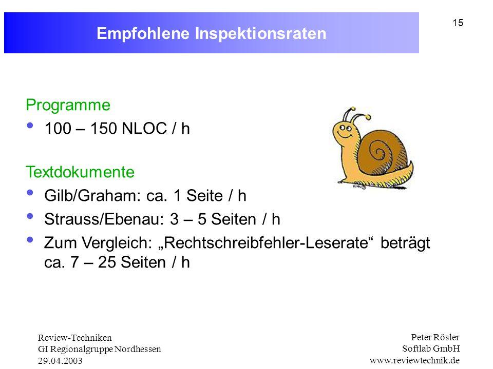 Review-Techniken GI Regionalgruppe Nordhessen 29.04.2003 Peter Rösler Softlab GmbH www.reviewtechnik.de 15 Empfohlene Inspektionsraten Programme 100 – 150 NLOC / h Textdokumente Gilb/Graham: ca.