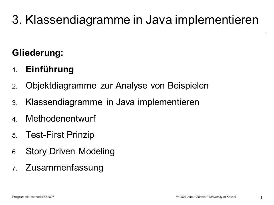 Programmiermethodik SS2007 © 2007 Albert Zündorf, University of Kassel 1 3. Klassendiagramme in Java implementieren Gliederung: 1. Einführung 2. Objek