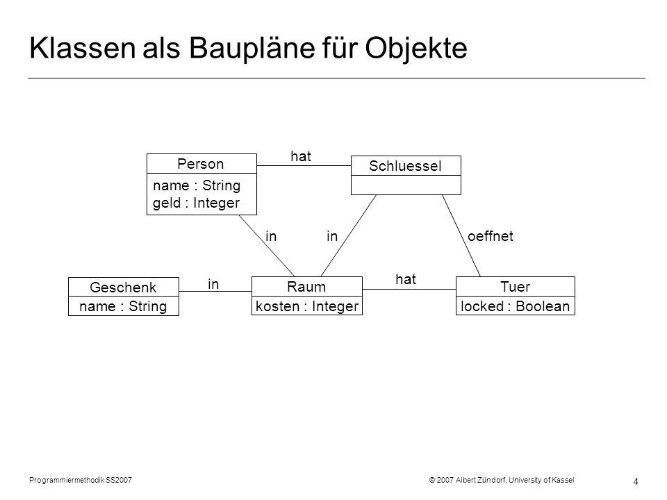 Programmiermethodik SS2007 © 2007 Albert Zündorf, University of Kassel 4 Klassen als Baupläne für Objekte Raum kosten : Integer in Geschenk name : Str