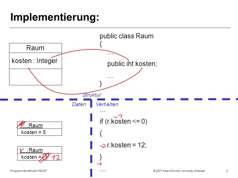 Programmiermethodik SS2007 © 2007 Albert Zündorf, University of Kassel 8 Implementierung: public class Raum { public void kassieren (Person p) { … } … } Raum kassieren (p:Person) … r.kassieren (p); … r.kassieren (p); … :Raum kosten = 8 :Person geld = 50 :Raum kosten = 12 :Person geld = 100 Struktur DatenVerhalten