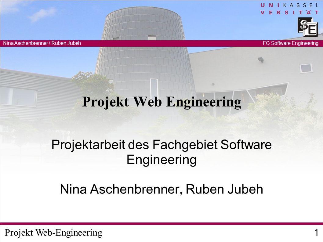 Projekt Web-Engineering Nina Aschenbrenner / Ruben Jubeh 2 FG Software Engineering Web-Applikationen User Interface Business-Logic Datenmodell DB Java, C#, PHP, Python, Ruby… HTML, XML, Javascript, Flash, Silverlight ClientServer Controller Persistenz-Frameworks Data- binding Schnittstellen- techniken