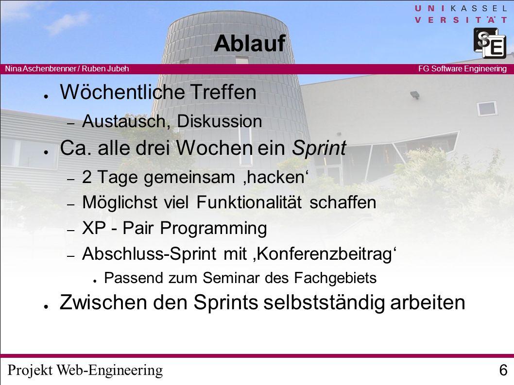 Projekt Web-Engineering Nina Aschenbrenner / Ruben Jubeh 7 FG Software Engineering Existierendes System