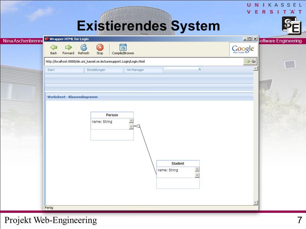 Projekt Web-Engineering Nina Aschenbrenner / Ruben Jubeh 8 FG Software Engineering Hausaufgabensystem Online Abgabe der Hausaufgaben – Text-Fragen, Multiple Choice,...