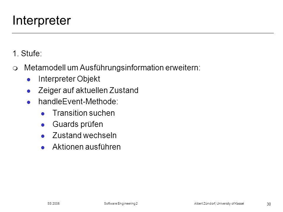 SS 2005 Software Engineering 2 Albert Zündorf, University of Kassel 30 Interpreter 1. Stufe: m Metamodell um Ausführungsinformation erweitern: l Inter