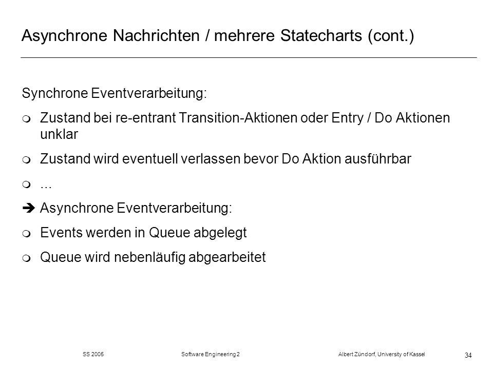 SS 2005 Software Engineering 2 Albert Zündorf, University of Kassel 34 Asynchrone Nachrichten / mehrere Statecharts (cont.) Synchrone Eventverarbeitun
