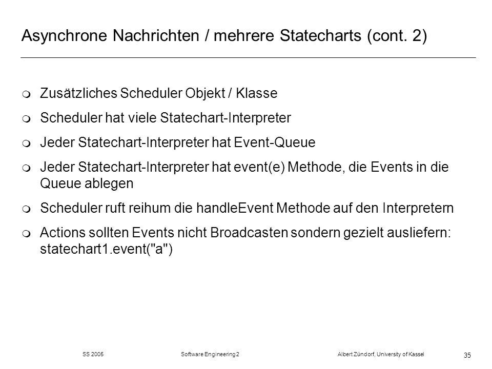 SS 2005 Software Engineering 2 Albert Zündorf, University of Kassel 35 Asynchrone Nachrichten / mehrere Statecharts (cont. 2) m Zusätzliches Scheduler