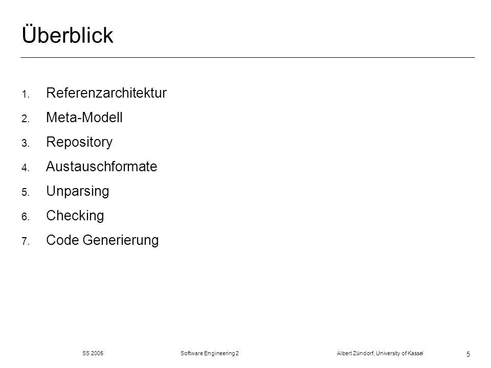 SS 2005 Software Engineering 2 Albert Zündorf, University of Kassel 5 Überblick 1. Referenzarchitektur 2. Meta-Modell 3. Repository 4. Austauschformat