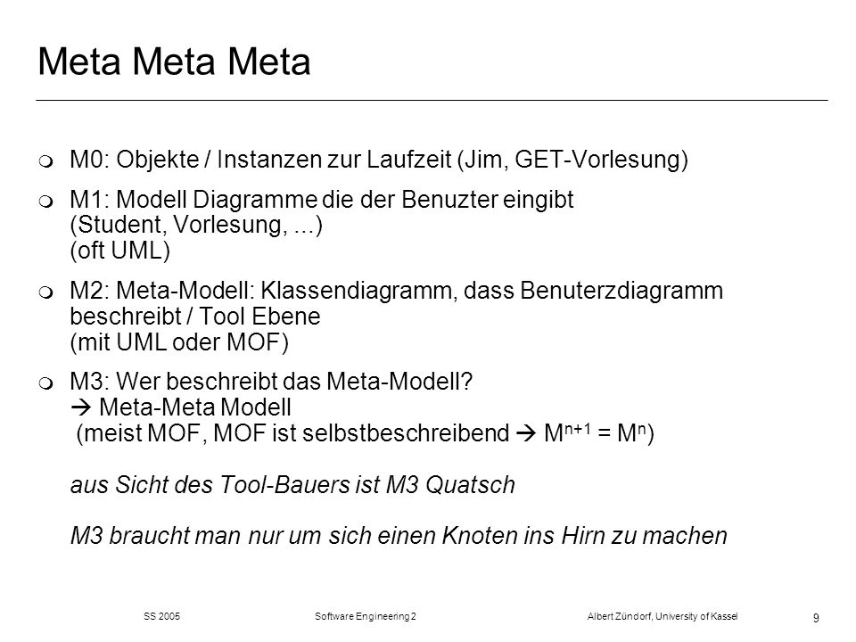 SS 2005 Software Engineering 2 Albert Zündorf, University of Kassel 9 Meta Meta Meta m M0: Objekte / Instanzen zur Laufzeit (Jim, GET-Vorlesung) m M1: