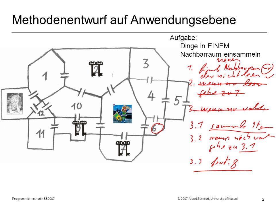 Programmiermethodik SS2007 © 2007 Albert Zündorf, University of Kassel 3 Methodenentwurf auf Modellebene: r2 :Room costs = 2 r5 :Room costs = 10 r11 :Room costs = 9 r8 :Room costs = 8 r12 costs = 7 r13 :Room costs = 6 p2 :Person name = Prinz geld = 99 d3 :Door i1 :Item d11 :Door d10 :Door d9 :Door d7 :Door in i2 :Item i5 :Item i6 :Item i3 :Item i4 :Item in