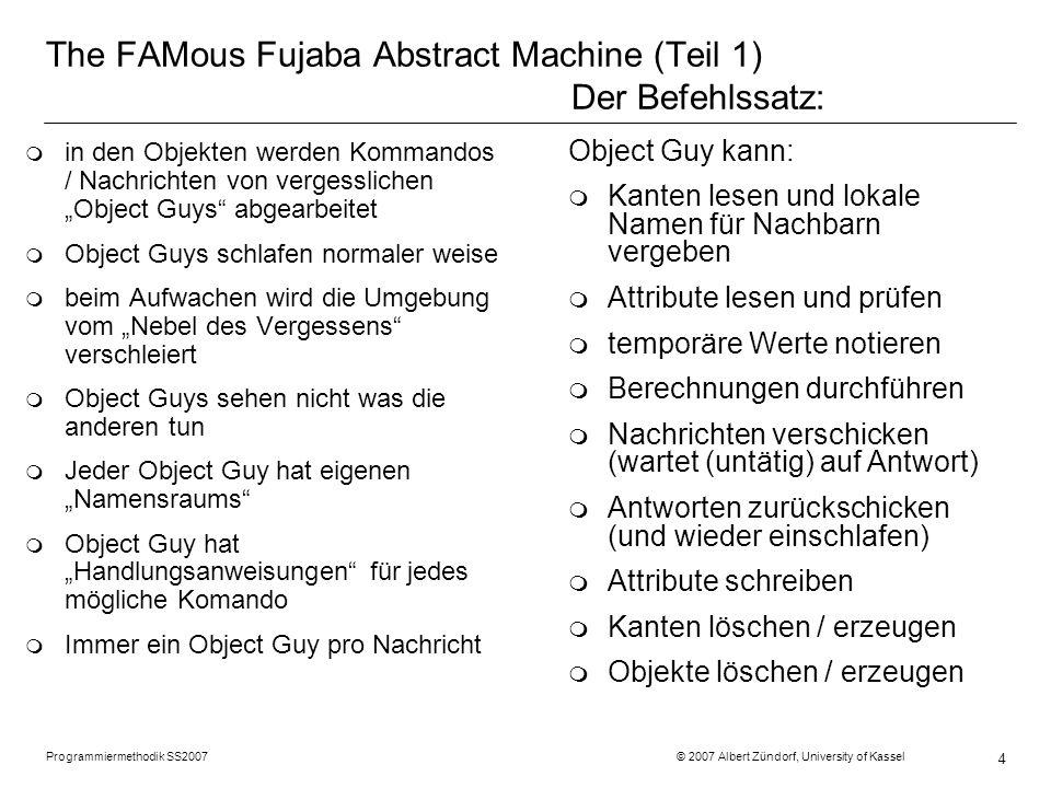 Programmiermethodik SS2007 © 2007 Albert Zündorf, University of Kassel 5 Kanten lesen r2 :Room costs = 2 r5 :Room costs = 10 r11 :Room costs = 9 r8 :Room costs = 8 r12 costs = 7 r13 :Room costs = 6 p2 :Person name = Prinz geld = 99 d3 :Door i1 :Item d11 :Door d10 :Door d9 :Door d7 :Door in i2 :Item i5 :Item i6 :Item i3 :Item i4 :Item in
