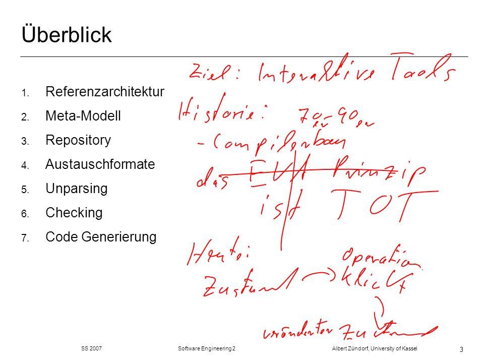 SS 2007 Software Engineering 2 Albert Zündorf, University of Kassel 44 Action Language m Action Language Bean-Shell www.beanshell.org import bsh.Interpreter; Interpreter i = new Interpreter(); // Construct an interpreter i.set( foo , 5); // Set variables i.set( date , new Date() ); Date date = (Date)i.get( date ); // retrieve a value from a variable // Eval a statement and get the result i.eval( bar = foo*10 ); System.out.println( i.get( bar ) ); // Source an external script file i.source( somefile.bsh );