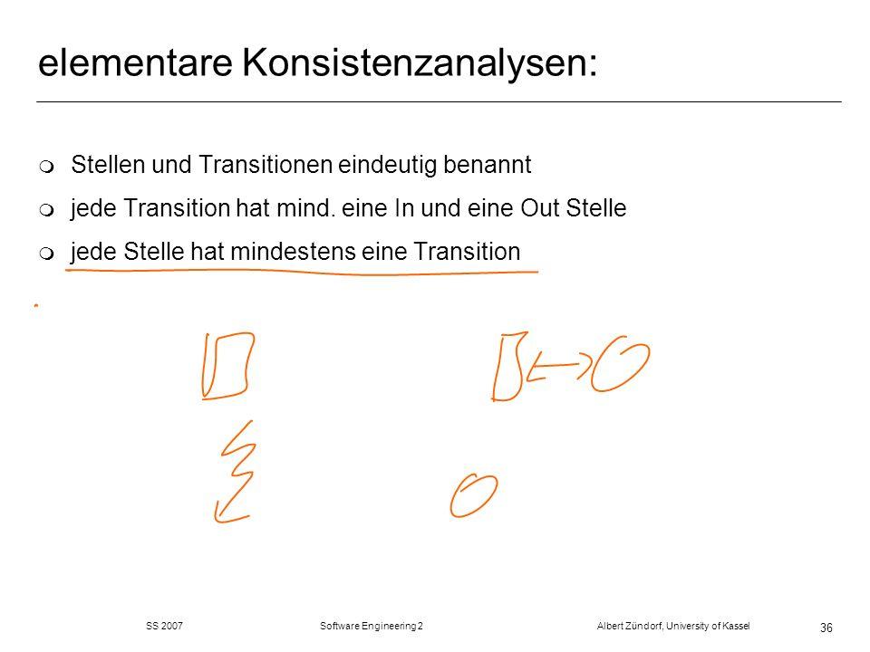 SS 2007 Software Engineering 2 Albert Zündorf, University of Kassel 36 elementare Konsistenzanalysen: m Stellen und Transitionen eindeutig benannt m j