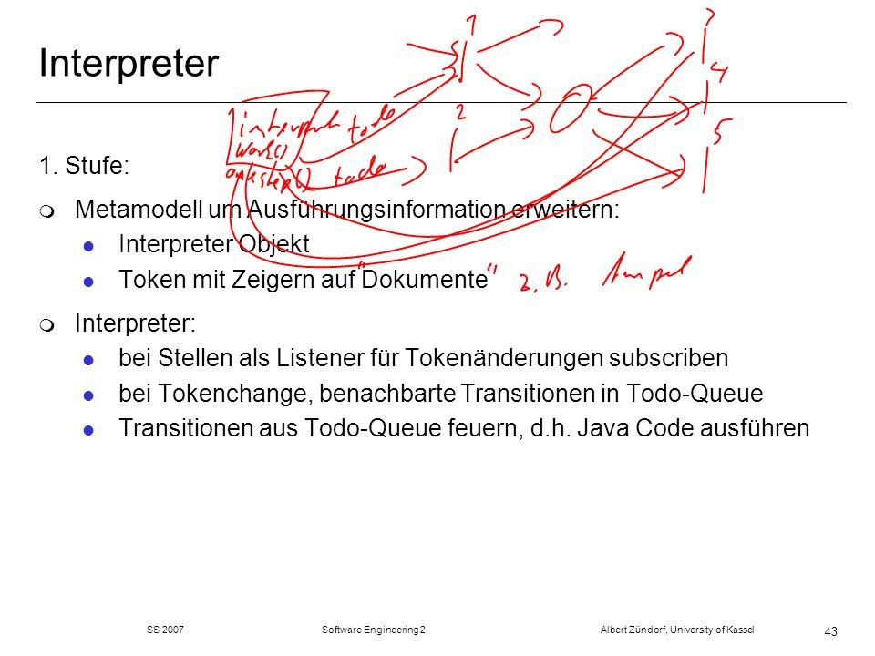 SS 2007 Software Engineering 2 Albert Zündorf, University of Kassel 43 Interpreter 1. Stufe: m Metamodell um Ausführungsinformation erweitern: l Inter