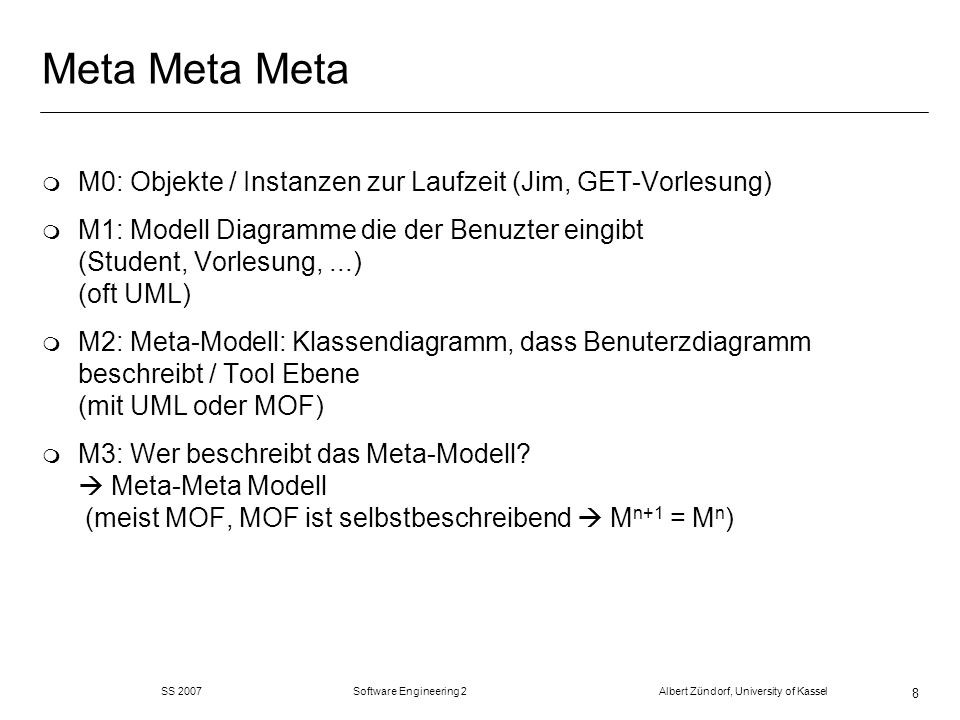 SS 2007 Software Engineering 2 Albert Zündorf, University of Kassel 49 Template basierte Code Generierung class $owner.name { public void initPetriNet () { #foreach ( $place in $net.places) Place $place = new Place (); $place.setName ( $place ); #end #foreach ( $trans in $net.transitions) Transition $trans = new Transition (); #foreach ( $src in $trans.preplaces ) $trans.addToPreplaces ($src); #end...