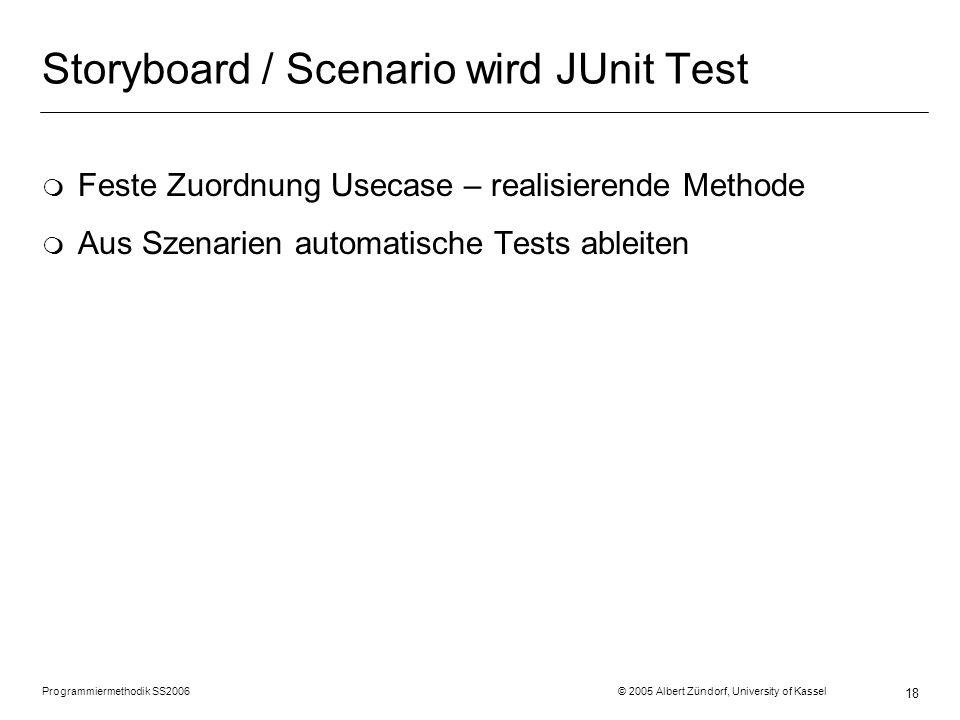 Programmiermethodik SS2006 © 2005 Albert Zündorf, University of Kassel 18 Storyboard / Scenario wird JUnit Test m Feste Zuordnung Usecase – realisiere