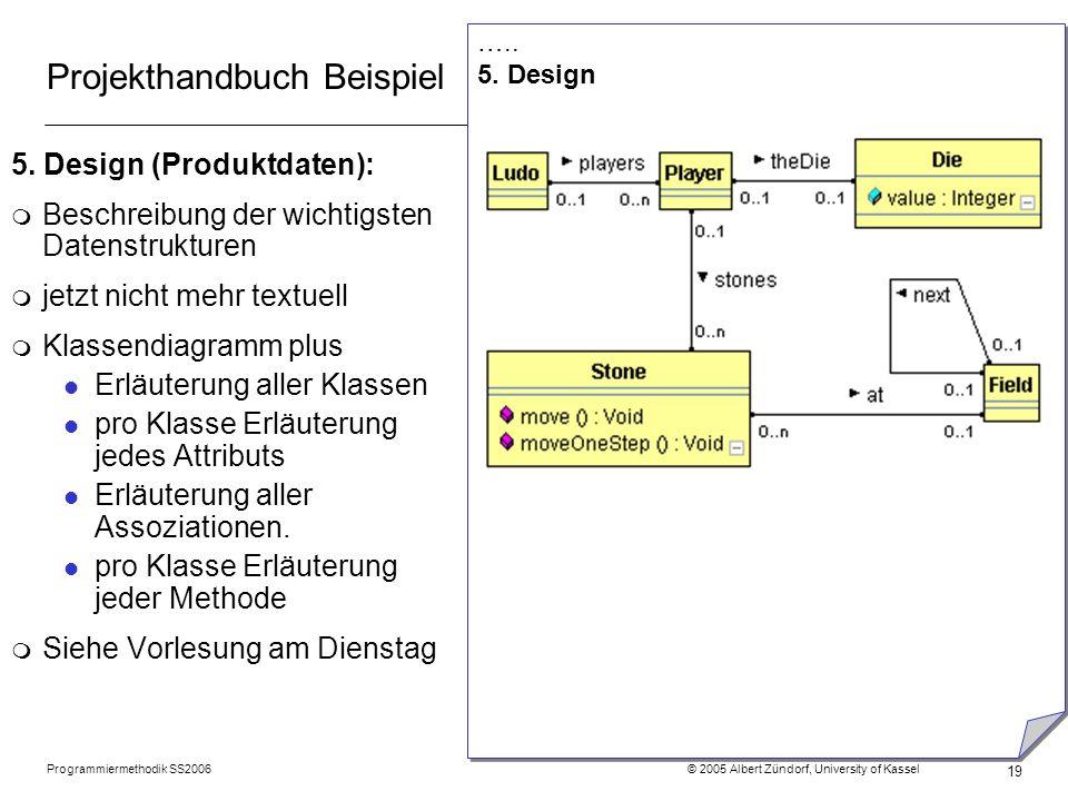 Programmiermethodik SS2006 © 2005 Albert Zündorf, University of Kassel 19 Projekthandbuch Beispiel 5. Design (Produktdaten): m Beschreibung der wichti