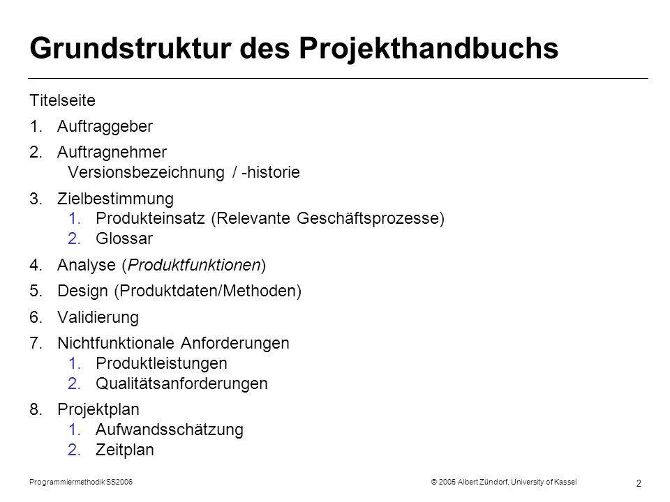 Programmiermethodik SS2006 © 2005 Albert Zündorf, University of Kassel 2 Grundstruktur des Projekthandbuchs Titelseite 1.Auftraggeber 2.Auftragnehmer