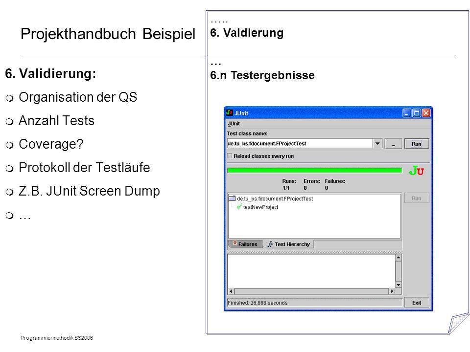 Programmiermethodik SS2006 © 2005 Albert Zündorf, University of Kassel 21 Projekthandbuch Beispiel 6. Validierung: m Organisation der QS m Anzahl Test
