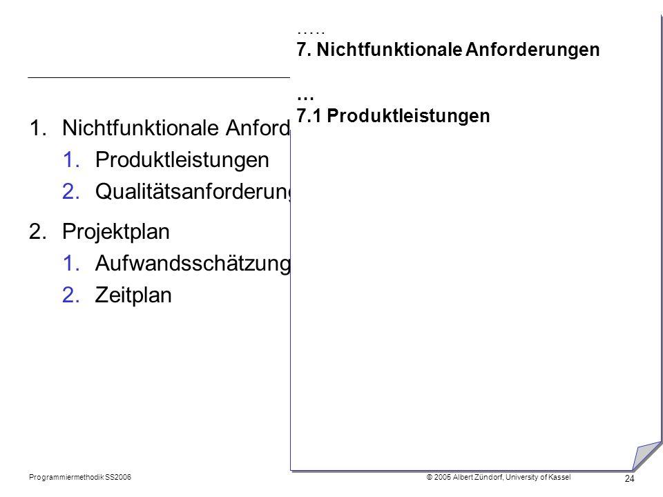 Programmiermethodik SS2006 © 2005 Albert Zündorf, University of Kassel 24 1.Nichtfunktionale Anforderungen 1.Produktleistungen 2.Qualitätsanforderunge