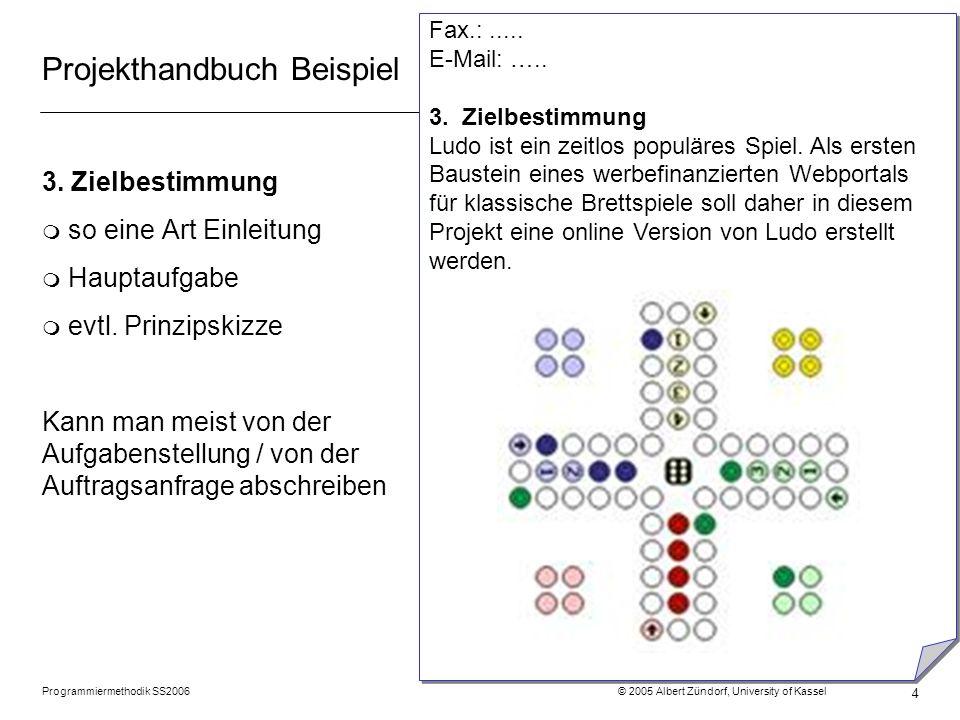 Programmiermethodik SS2006 © 2005 Albert Zündorf, University of Kassel 4 Projekthandbuch Beispiel 3. Zielbestimmung m so eine Art Einleitung m Hauptau