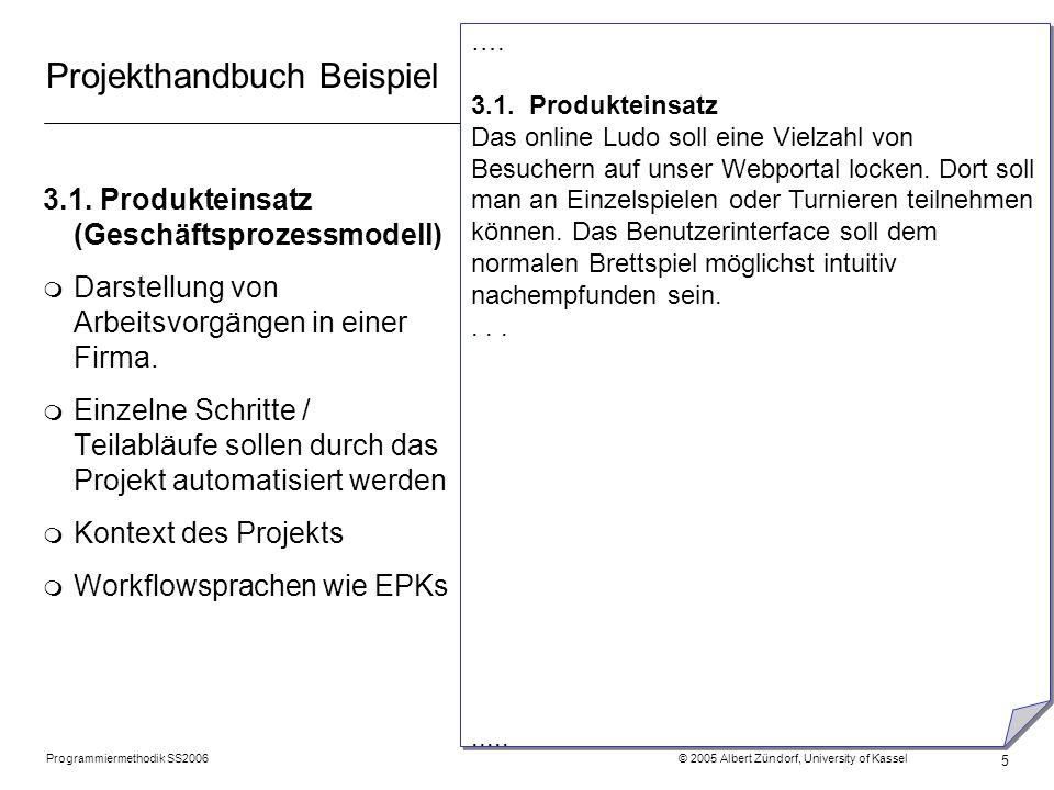 Programmiermethodik SS2006 © 2005 Albert Zündorf, University of Kassel 5 Projekthandbuch Beispiel 3.1. Produkteinsatz (Geschäftsprozessmodell) m Darst