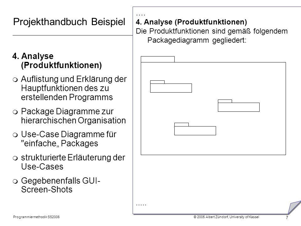 Programmiermethodik SS2006 © 2005 Albert Zündorf, University of Kassel 7 Projekthandbuch Beispiel 4. Analyse (Produktfunktionen) m Auflistung und Erkl