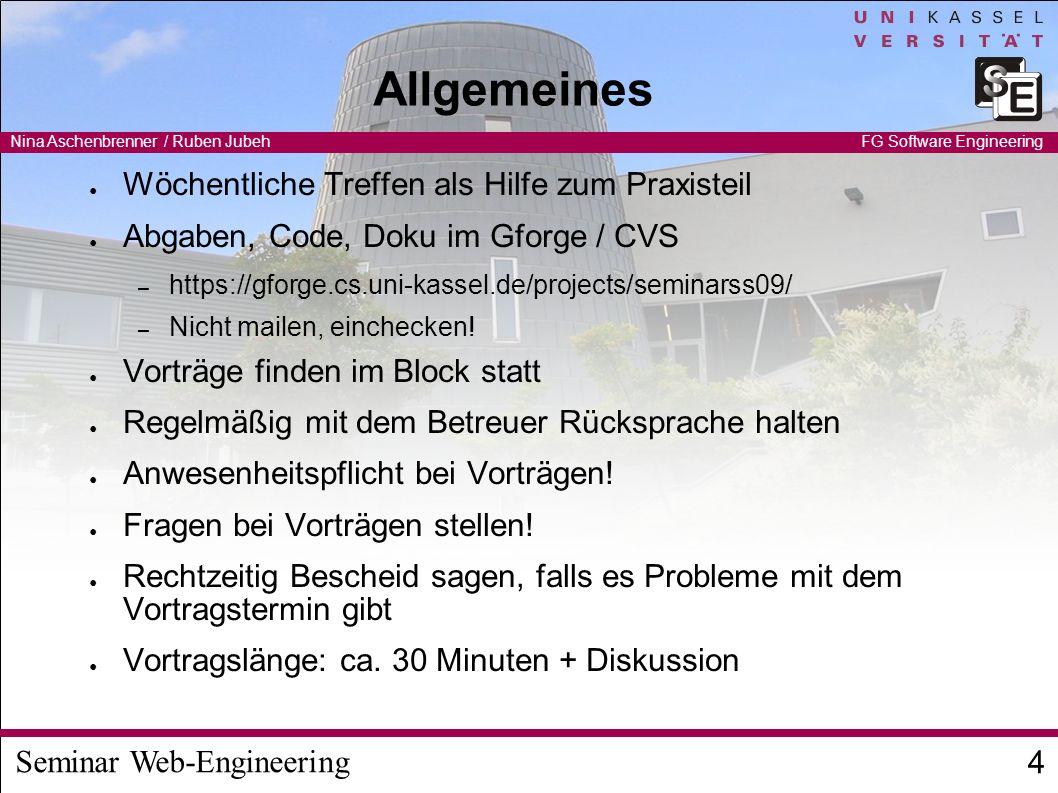 Seminar Web-Engineering Nina Aschenbrenner / Ruben Jubeh 5 FG Software Engineering Themen 1) JavaFX - zeitgemäße Ludo-GUI (Animation etc.) Vorgegebenes Ludo-Modell, zusammen mit 2 2) JavaFX - Data Binding (Ludo) mit einfacher GUI Vorgegebenes Ludo-Modell, zusammen mit 1 3) Automatischer Ludo-Spiel-Service Austauschbare, konfigurierbare Strategien für Ludo 4) Ludo-GUI mit Eclipse Rich Application Platform 1) Vorgegebenes Ludo-Projekt 5) Ludo mit GWT Gadgets in iGoogle 1) Vorgegebenes Ludo-Modell, zusammen mit 6 6) GWT-Databinding (Ludo) mit einfacher GUI 1) Vorgegebenes Ludo-Modell, zusammen mit 5