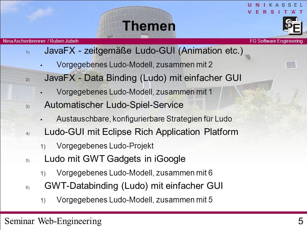 Seminar Web-Engineering Nina Aschenbrenner / Ruben Jubeh 6 FG Software Engineering Zusammenarbeit Thema 7: Lift - Webframework (Scala) – mit GartenRätsel, Modell und Code vorgegeben Alle sollen am Ende den Service nutzen (außer Thema 7) Ludo-Modell wird als Fujaba-Modell bereitgestellt