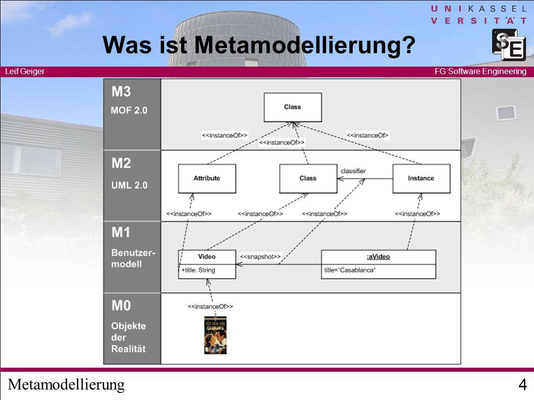 Metamodellierung Leif Geiger 4 FG Software Engineering Was ist Metamodellierung?