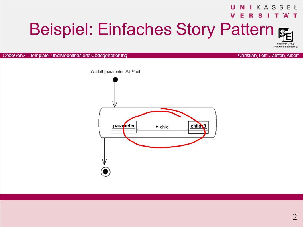 Christian, Leif, Carsten, AlbertCodeGen2 – Template- und Modellbasierte Codegenerierung 2 Beispiel: Einfaches Story Pattern