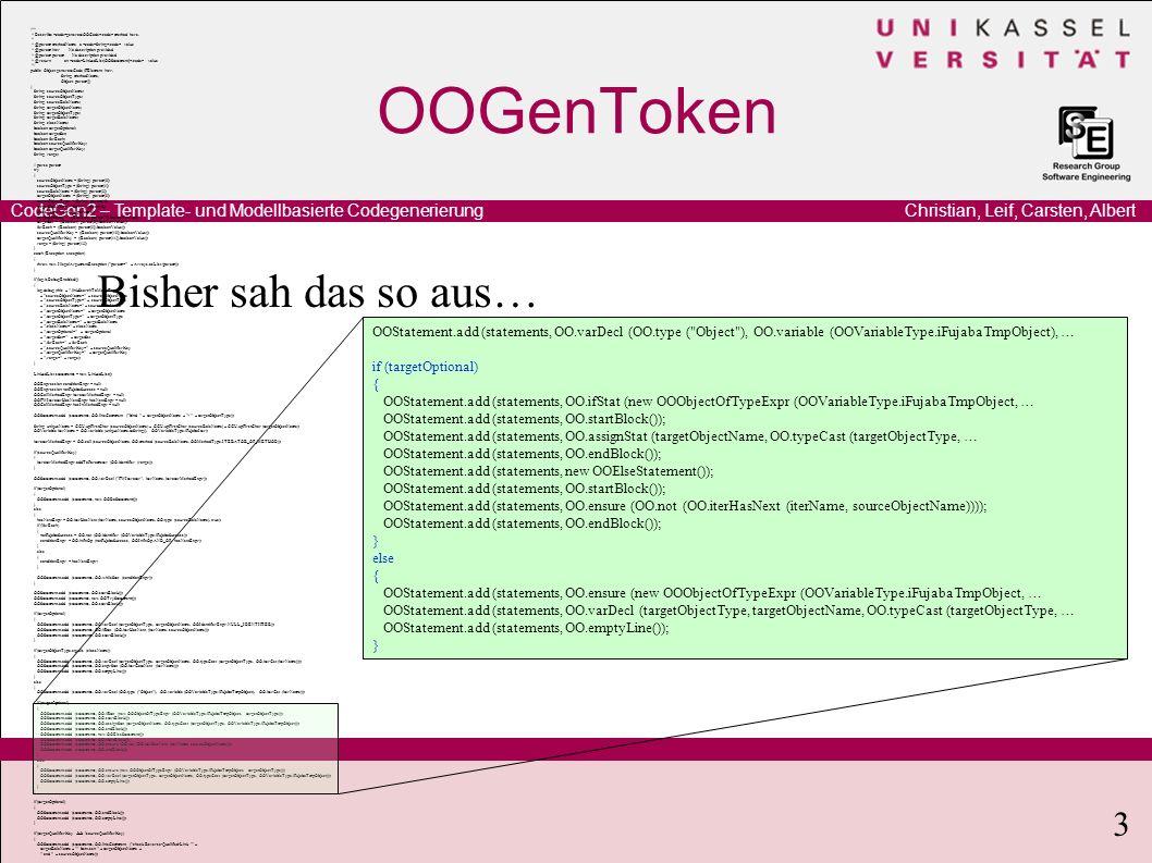 Christian, Leif, Carsten, AlbertCodeGen2 – Template- und Modellbasierte Codegenerierung 3 OOGenToken Bisher sah das so aus… /** * Describe generateOOC
