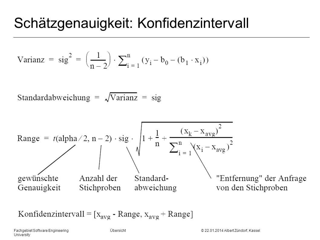Fachgebiet Software Engineering Übersicht © 22.01.2014 Albert Zündorf, Kassel University Schätzgenauigkeit: Konfidenzintervall