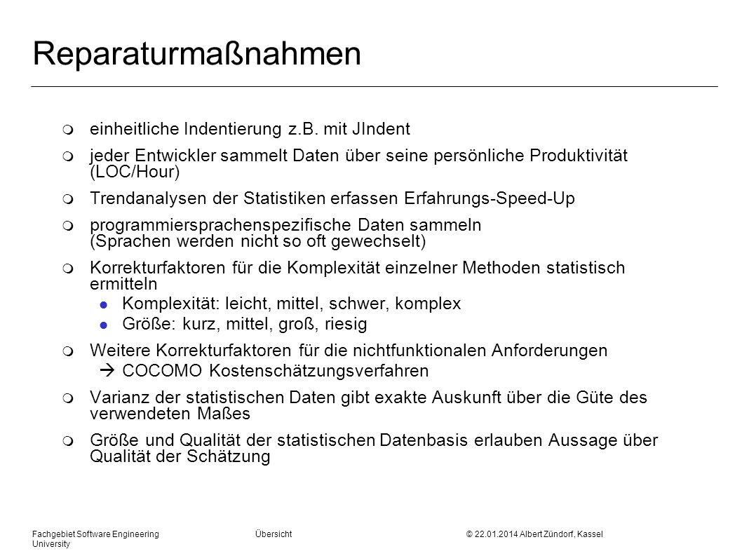 Fachgebiet Software Engineering Übersicht © 22.01.2014 Albert Zündorf, Kassel University t-Verteilung: (Tabelle A2, Seite 489)