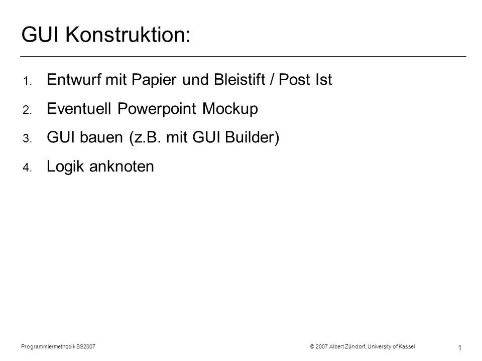 Programmiermethodik SS2007 © 2007 Albert Zündorf, University of Kassel 2 1.