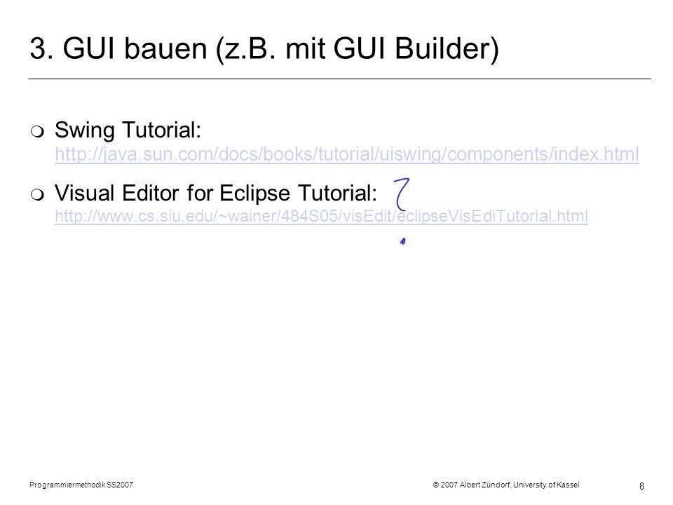 Programmiermethodik SS2007 © 2007 Albert Zündorf, University of Kassel 9 Swing GUI: Aufbau