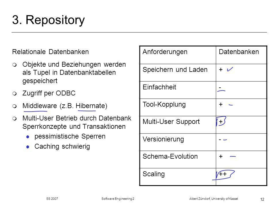 SS 2007 Software Engineering 2 Albert Zündorf, University of Kassel 12 3. Repository Relationale Datenbanken m Objekte und Beziehungen werden als Tupe
