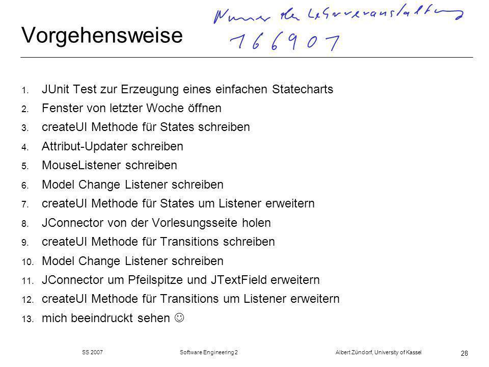 SS 2007 Software Engineering 2 Albert Zündorf, University of Kassel 28 Vorgehensweise 1.