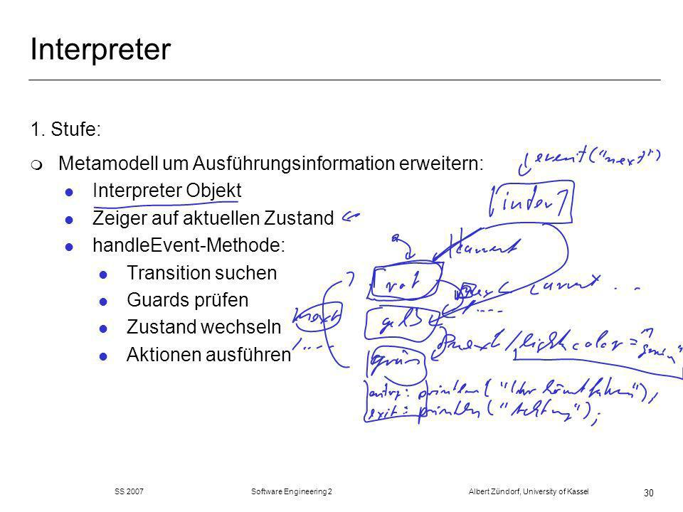 SS 2007 Software Engineering 2 Albert Zündorf, University of Kassel 30 Interpreter 1. Stufe: m Metamodell um Ausführungsinformation erweitern: l Inter