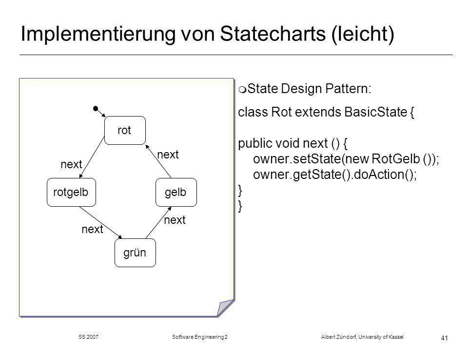 SS 2007 Software Engineering 2 Albert Zündorf, University of Kassel 41 Implementierung von Statecharts (leicht) m State Design Pattern: class Rot extends BasicState { public void next () { owner.setState(new RotGelb ()); owner.getState().doAction(); } } rot grün gelbrotgelb next