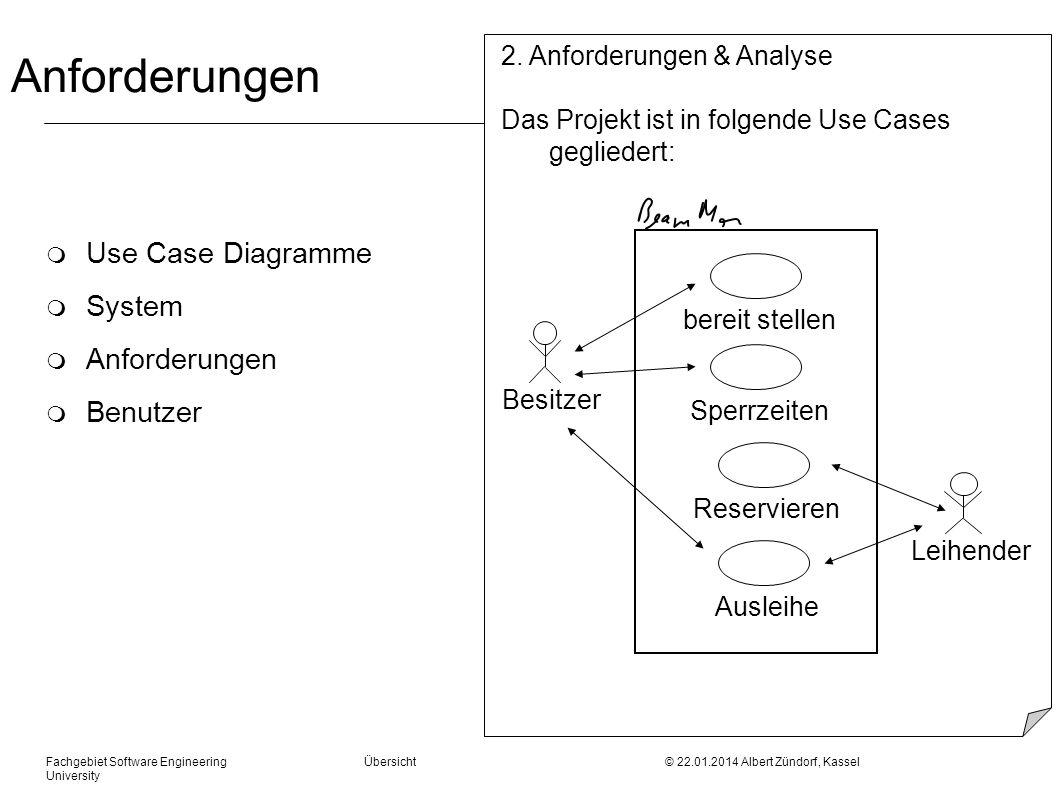 Fachgebiet Software Engineering Übersicht © 22.01.2014 Albert Zündorf, Kassel University Anforderungen m Use Case Diagramme m System m Anforderungen m