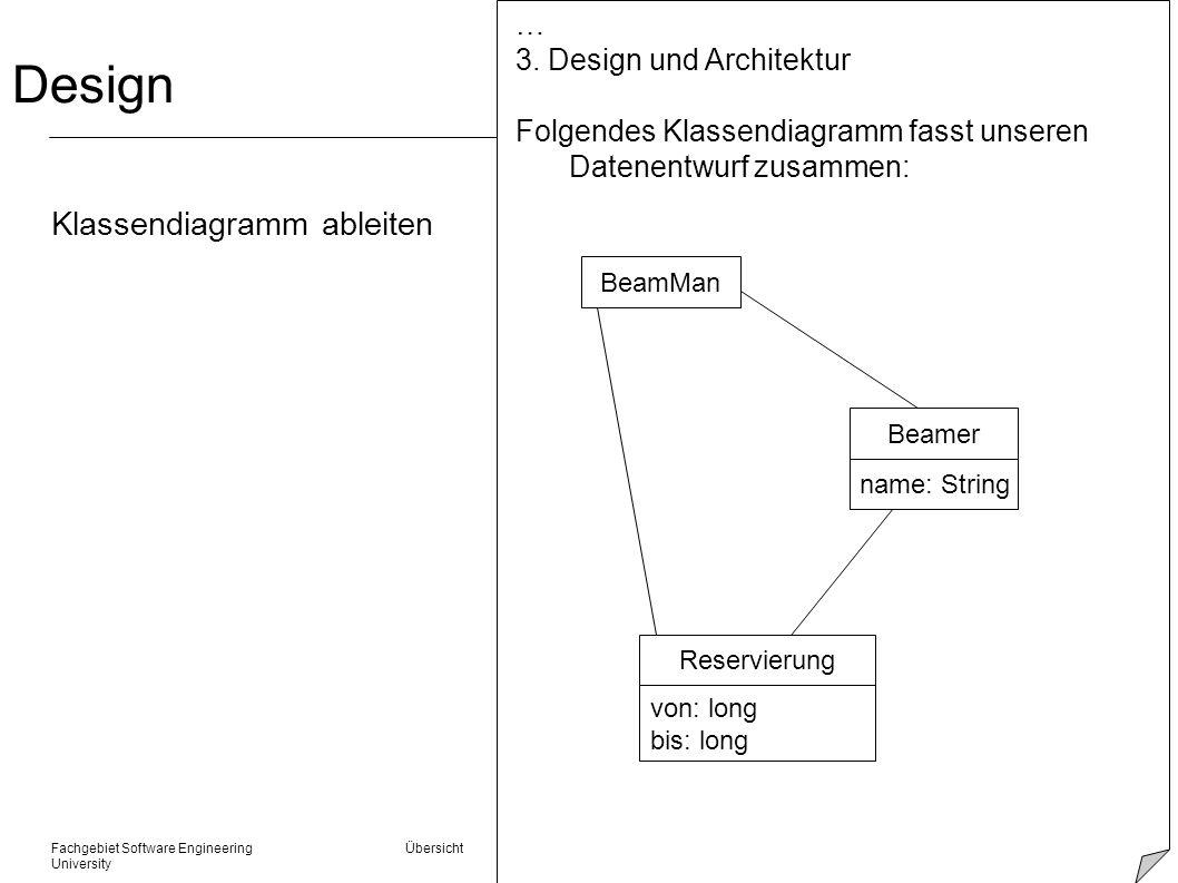 Fachgebiet Software Engineering Übersicht © 22.01.2014 Albert Zündorf, Kassel University Design Klassendiagramm ableiten … 3. Design und Architektur F