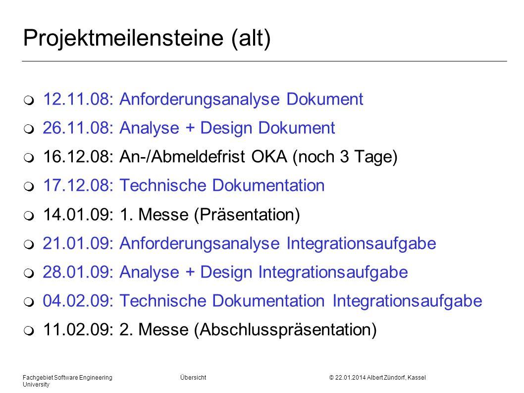 Fachgebiet Software Engineering Übersicht © 22.01.2014 Albert Zündorf, Kassel University Objektdiagramme Analyse: Hier Datenmodellentwurf Für zentrale Schritte: m Objektdiagramm Ziel: Datenorganisation muss klar werden … 3.